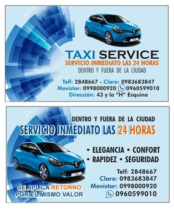 Tarjeta de presentación para taxi ejecutivo