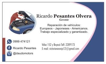 Tarjeta personal para mecánico automotriz