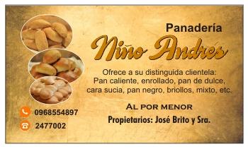 Tarjeta personal para panadería