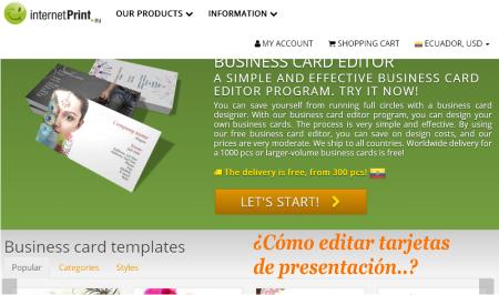 Tarjetas de presentación para editar
