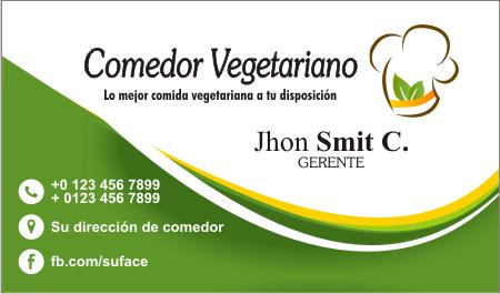 Diseño de tarjetas de presentación para comedor